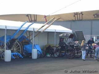 """The new """"harness shed""""! To be fair there is another larger tent that also is a storage area for the harness vehicles."""
