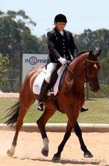 Janette Bourke & the Australian Warmblood mare, Jaybee Althea (Aachimedes x Abercorn Impromptu), lengthening stride in the Elementary 3.2.