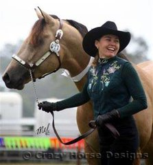 Smiles all round... Mulaguna Fabbio & owner Tania Papasidero placed in this class but went on to win Supreme Buckskin/Dun of the Show