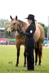 Buckskin quarter horse mare Lucy Buckwheat & her handler Tracey Forrest