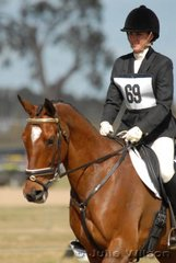 Nicole Gullot, the well know hack rider rode My Ishk in the Aitac Pre-Novice section 1.