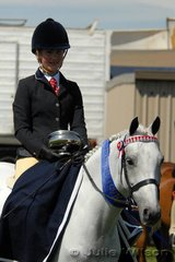 Sarah Adrych rode her 'Beckworth Rising Triton' by Rendene Rising Sun out of Bluebell of Beckworth to claim the much sought after Mastermind Trophy, presented by the Campbell Family in memory of their successful Child's Pony, Willowcroft Mastermind.
