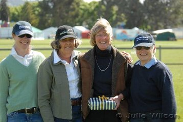 L-R Bernadette Warren, Anne Patterson, Sue Luttrel and Julia Youl. Sue Luttrel was being presented with a memento of her long association with the Riding Pony Society of Tasmania