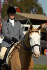 Joylene Dragon won the Show Hunter Hack 15-16hh class with her 'Anawa Painted Vision'.