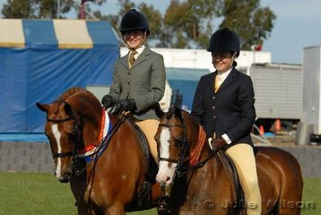 Jordan Sassine's super ponies, L-R 'County Liar'  ridden by Chanele Hunter and 'Tooravale Olivia' ridden by Georgina Gray, claimed Champion and Reserve Champion Show Hunter Pony awards.