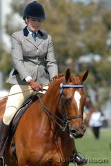 Nicky Dare rode her 'Strapping' to take third place in the Open Hack Over 16hh class.