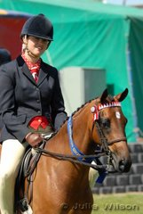 Jacqui Devrome  from Victoria rode her own and Emma Richardson's 'Willowcroft Holly's Emblem' to win the Open Pony 12.2-13hh class.