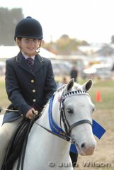 Emma Armstrong from Geelong rode 'Del-Lee Penguin' to win the District Saddle Pony 12hh and Under class.