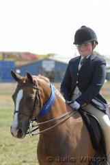 Jessica Byrne from Modewarre took first place in the District Show Hunter Pony Class riding 'Glynyarra Helena'.