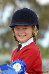 Eight year-old Adelle Mahoney from Somerville was delighted to win the Pony Club Rider Under 10 Years class.