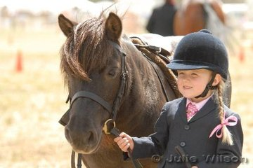 Three-year-old Felicity Devereux from Lara was preparing for a big day of competition on the first day of the Royal Geelong Show.