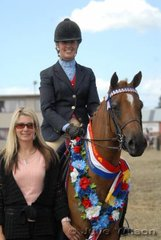 Nicole McCarthy took out the Champion District Galloway Award with the McCarthy Family's 'Ariston Catwalk' and with it the HP Solitaire Memorial Trophy. Pictured with sponsor, Cindy Licht who rode HP Solitaire to six District and five Open Galloway Championships at Geelong Show.