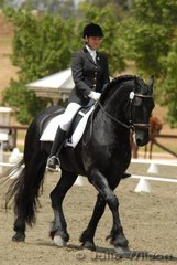 Natasha Althoff from Victoria with her six-year-old imported Friesian stallion, 'Ebony Park Abe' by Anne 340 out of Wenpewene,  Seen here competing in the Elementary Championship. They scored 63.11% in the 3.3 and 61.61% in the 3.4 to finish the Elementary Championship in sixth place.