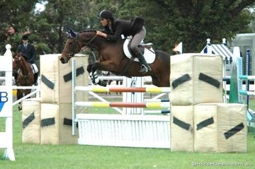James Harvey rode his 'JHB Titania' to take third place in the Sale and District Ag Society Two Phase competition on the first day of the Sale Australian Showjumping Championships.