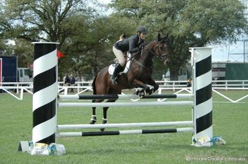 Well-known New South Wales rider, Lauren Hartog with her 'Bourbon Jewel' in the C Grade Two Phase on the first day of the Sale/2006 Australian Showjumping Championships.
