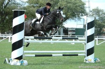 """Kylie Lilburne is having a great """"swan song"""" with her Thoroughbred mare, 'Kiwi Tag'. The mare who is planning motherhood with 'Coppabella Visage' after the Championships and Kylie took second place in the C Grade Two Phase class."""