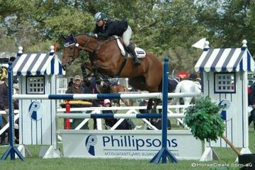 Michelle Lang-McMahon from Queensland with her super Thoroughbred, 'KS Serenade' jumping in the Saddleworld 1.35m class.