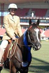 Erin Morgan riding the Morgan Family's 'Yoorana Calamity Jane' won the Working Australian Stock Horse class for Riders Under 18 Years.
