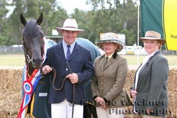 Supreme Led Exhibit went to Champion Led Colt 'Koorala Black Label' exhibited by Russel Sweeper & Black Label Syndicate with sponsor Judy Rankin from Kinmont ASH Stud and judge Kym Robinson