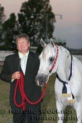 Champion Senior Purebred Arabian Mare 'D'Amors  Silver Sasha' exhibited by Wayne Beasley