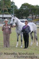 Champion Arabian Amateur Handler Helen Wright with 'Ausden Montage' & judge Barbara Evans
