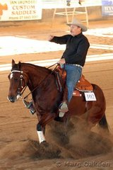 Putting in a big one in the Novice Horse Non-Pro is Ima Koolibah for owner/rider Bruce Tucker.