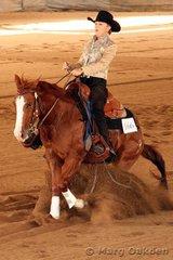 Lethal Lil Calgirl & Shayne Irish hit the brakes in the Thomas Trailers Novice Horse Non-Pro.