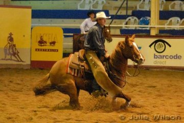 Rob Hodgman from Pinkett NSW rode the Hodgeman and McGregor nomination EB's Buffel, by High Brows Doctor to score 147 in the first go-round of the NCHA Open Futurity. Rob also rode EB's Mainstreet to score 145.5.