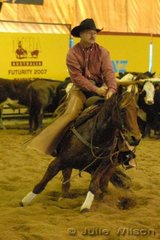Terry Clifford from Rio Vista USA rode R and K Benson's, Lectosa Lena by the USA stallion Lectro Lena San to score 142 in the first go-round of the NCHA Open Futurity.