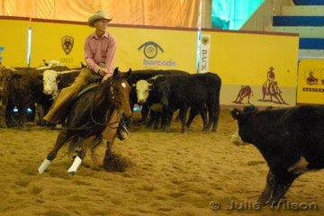 Glenn Jones from Spring Creek Qld rode his own and Lucy Madden's, Roys Boy by Malandas Playboy to score 141 in the first go-round of the NCHA Open Futurity.
