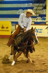 Jonathan Dudley from Kelbar QLD rode Clive Perry's Quixote N Starlight by the USA sire Quixote Mac to score 142 in the first go-round of the NCHA Open Futurity.