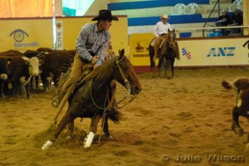Mitchell Butler from Cobram Vic. rode Cliff and Marieka Wallace's, Peta From Heaven by the USA sire Peppy From Heaven, to score 142 in the first go-round of the NCHA Open Futurity.