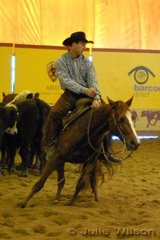 Professional rodeo rider Scott Johnston bought his first cutting horse at last years NCHA sale, today he rode that horse, Chicky Babe by EW Rooster to score 140 in the first go-round of the NCHA Open Futurity.  Both horse and rider had the debut appearence at a cutting show.