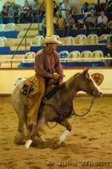 Phil Dawson from Inverell NSW rode the Tri Star QH stud's nomination Tri Star Miss Smart by Winderadeen Short N Smart to score 142 in the first go-round of the NCHA Open Futurity.