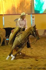 Denise MacCallum-Campey from Goornong Vic. rode her imported mare Red Royal Boon by Peptoboonsmal to score 142.5 in the first go-round of the NCHA Open Futurity.