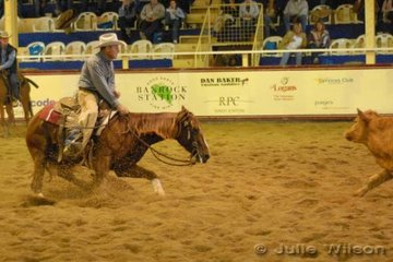 Graham Amos from Dubbo NSW rode Kathy Hauenstein's (from California USA) Playboy Roy mare, Playin With Roses to score 146 in the first go-round of the.NCHA Futurity final.