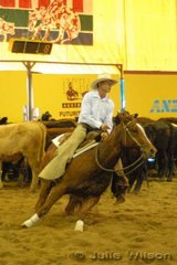 Gary LeBrocq from River Meadows NSW rode Rebecca LeBrocq's, Miss Divine by Duntay High Roller to score 135 in the first go-round of the NCHA Futurity final.