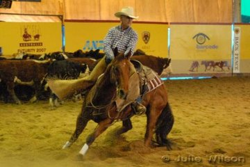 Robert MacKay from Boggabilla NSW rode his own Lookin Like Daddy by Dmac Daddy to score 141 in the first go-round of the NCHA Open Futurity. Two scores of 142 are normally needed to make the final, so the pressure is on Robert tomorrow.