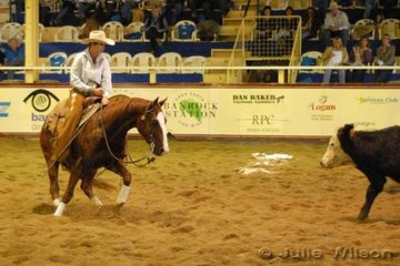 Julie Sheedy from Glen Innes NSW rode her own Pretty Boy Dually by Dually Cool to score 142 in the first go-round of the NCHA Futurity final.