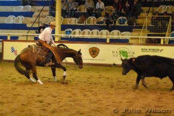 Ian Merrick from Curlewis NSW rode Greg Ellison's Bons Bad Medicine by Docs Bon Jovi to score 137 in the first go-round of the NCHA Futurity final.