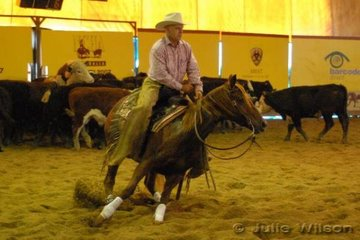 Roger Elliott from Chinchilla Qld, rode his own Lead Foot Lucy by Freckles Fortissimo to score 139 in the first go-round of the NCHA Futurity final.
