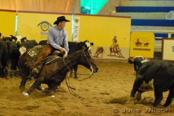 Corey Holden returned from his home in Texas USA to ride Stephan Websdale's Acres Desity stallion, Destinys Mr Chic to score 143 in the first go-round of the NCHA Open Futurity.