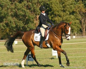 """Robyn Brown riding """"I'm Charles Too"""" in the CNC** Dressage phase."""