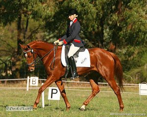 """Erin Anderson riding """"The Last Chuka"""" in the Preliminary 1 Dressage phase."""