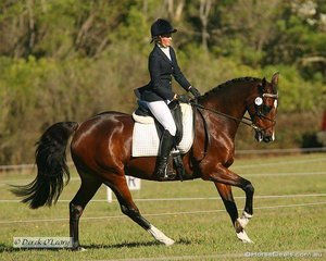 """Cassie Lowe on """"Bentleigh Gambler"""" in the CNC* Dressage phase."""