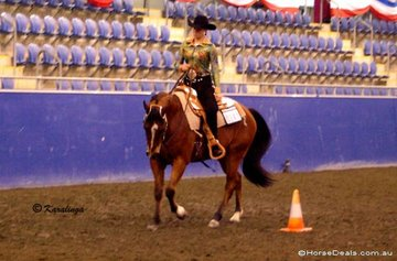 Monica Watts & Tempted to Role, loping into one of the many flying changes required in the Western Riding class.