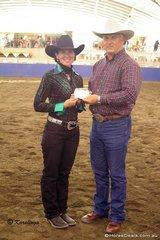 AQHA President, Greg Watson & Annette Boyd, winner of the High Point Amateur Senior Horse buckle.
