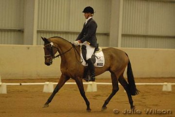 Western Australian Team Member, Shaun Dillion rode Erin Caine's, TB Sarjaes Skitzmix in the CCI* dressage for a score of 66.7.
