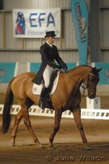 Victorian Jenny Bowker and her TB gelding, Radish scored 69 in the CCI**.
