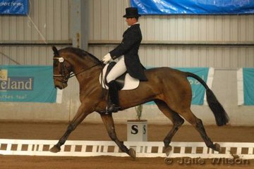 Darren Green rode his warmblood gelding, Torlea Merlin McOhl by Kilof McOhl to score 59.6 in the CCI** dressage phase..